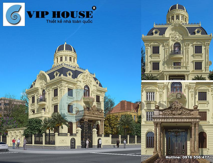Xem ngay mẫu thiết kế biệt thự tân cổ điển 3 tầng 2 mặt tiền đẹp