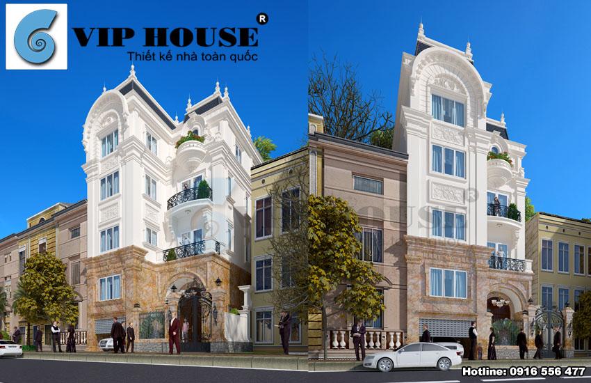 Tư vấn thiết kế nhà phố tân cổ điển 4 tầng đẹp nổi bật