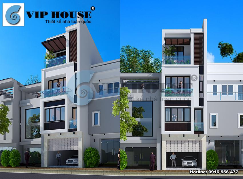 Nhà phố hiện đại 4 tầng đẹp năng động, trẻ trung tại Bắc Ninh