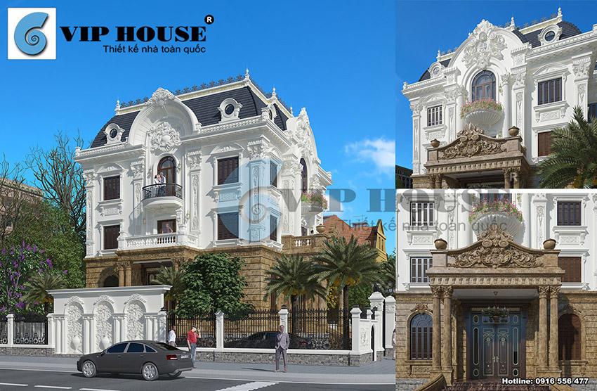 Thiết kế biệt thự tân cổ điển kiểu Pháp 3 tầng 2 mặt tiền đẹp