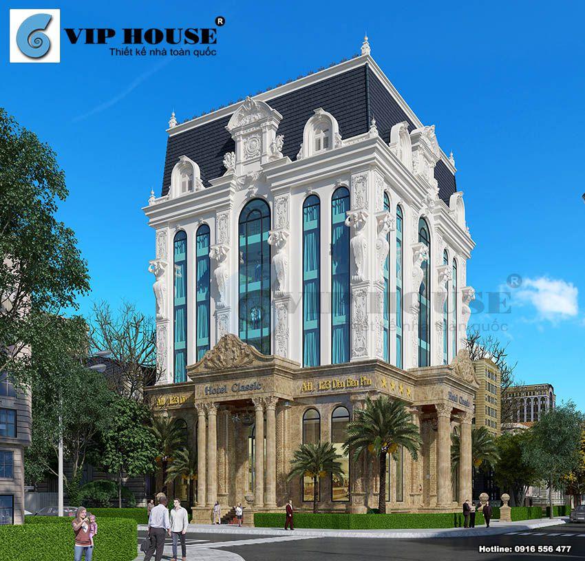 Thiết kế khách sạn 6 tầng kiểu tân cổ điển Pháp