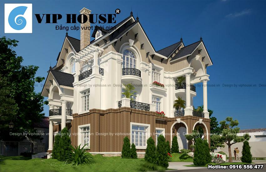 Biệt thự Pháp mái thái 3 tầng đẹp tại Thái Nguyên