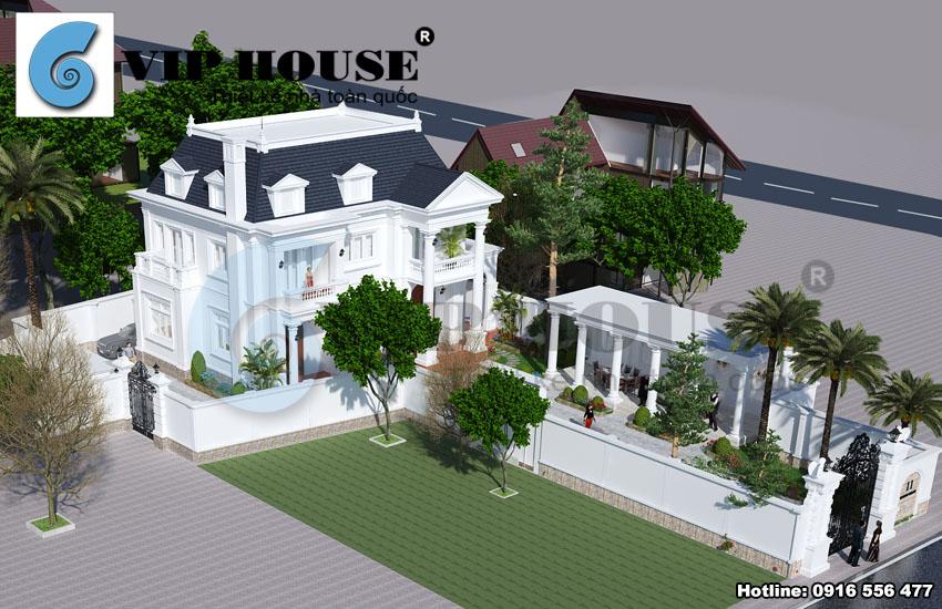 Tư vấn thiết kế biệt thự kiểu Pháp 2,5 tầng