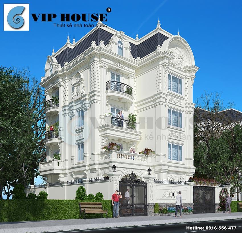 Thiết kế biệt thự kiểu Pháp cổ điển đẹp ấn tượng tại Nam Định