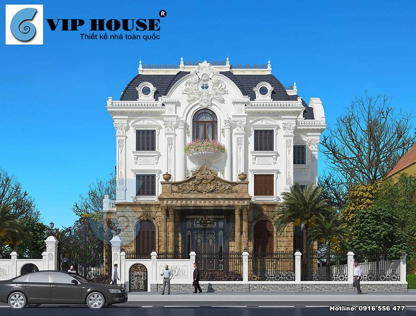 Mẫu thiết kế biệt thự Pháp 3 tầng đẹp hoàn hảo