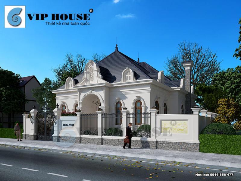 Mẫu thiết kế biệt thự kiểu Pháp 1 tầng đẹp cuốn hút tại Thanh Hóa