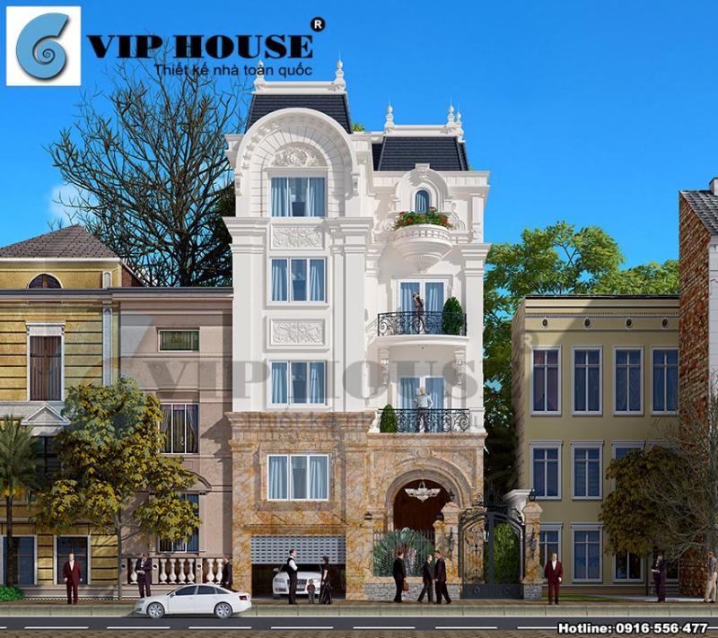 Thiết kế biệt thự kiểu Pháp mini 4 tầng tại Hà Nội