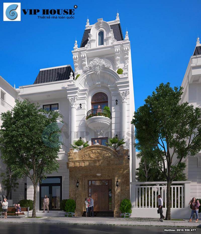 Thiết kế biệt thự kiểu Pháp mini ấn tượng tại Vĩnh Phúc